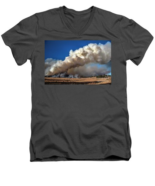 Smoke Column From The Norbeck Prescribed Fire. Men's V-Neck T-Shirt