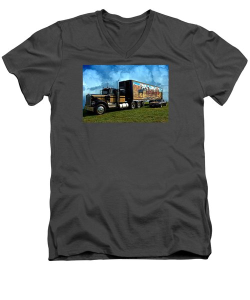 Men's V-Neck T-Shirt featuring the photograph Smokey And The Bandit Tribute 1973 Kenworth W900 Black And Gold Semi Truck And The Bandit Transam by Tim McCullough