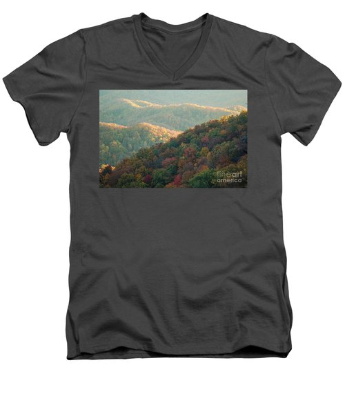 Smoky Mountain View Men's V-Neck T-Shirt by Patrick Shupert