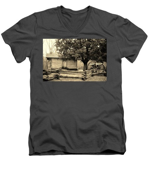 Snodgrass Cabin And Cannon Men's V-Neck T-Shirt by Daniel Thompson