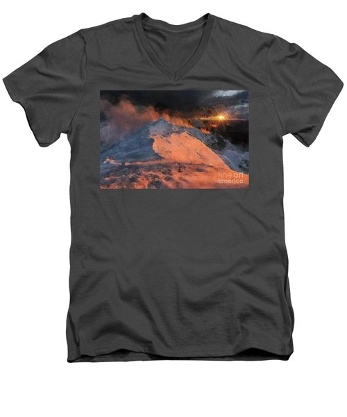 Snow Cap Sunset Men's V-Neck T-Shirt