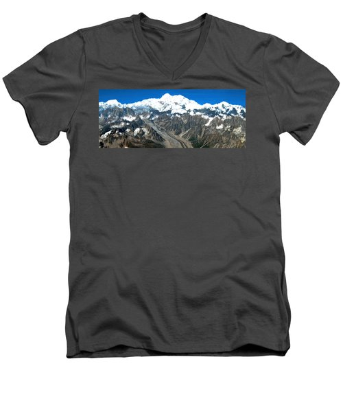 Snow Capped Canyon Men's V-Neck T-Shirt by Bruce Nutting