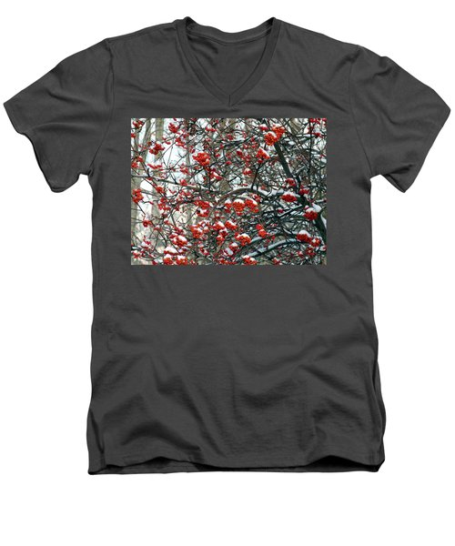 Snow- Capped Mountain Ash Berries Men's V-Neck T-Shirt