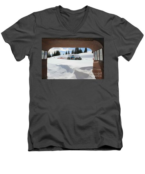 Men's V-Neck T-Shirt featuring the photograph Snow Daze by Fiona Kennard