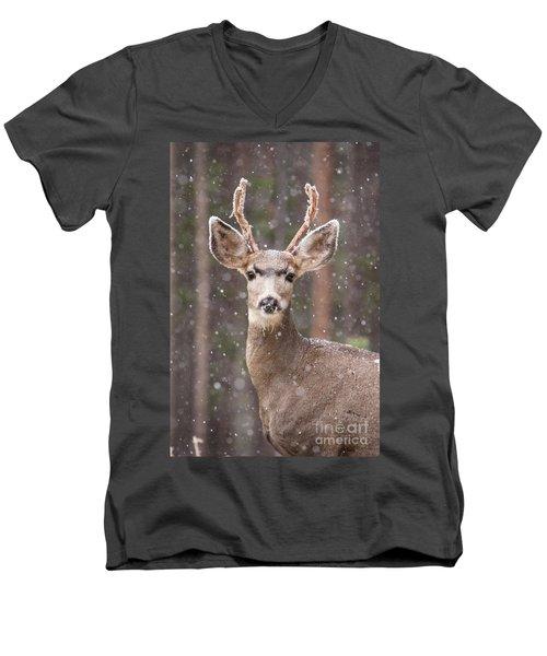 Men's V-Neck T-Shirt featuring the photograph Snow Deer 1 by John Wadleigh