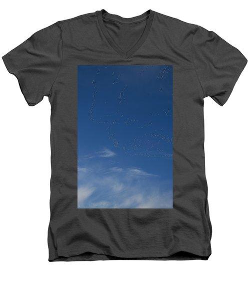Snow Geese In Flight Men's V-Neck T-Shirt
