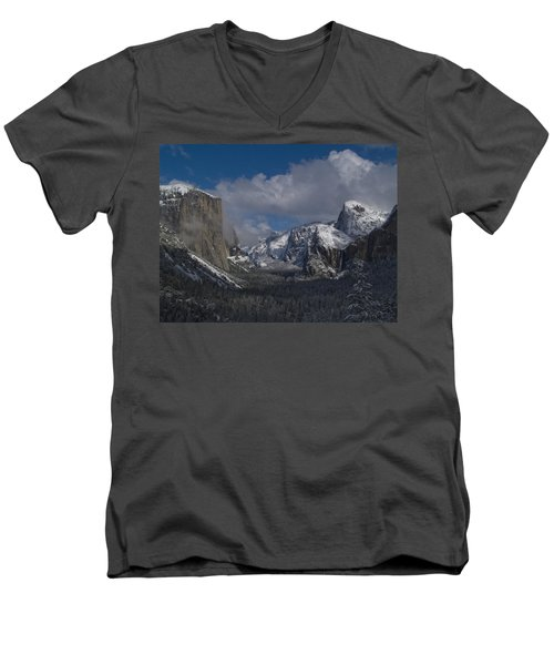 Snow Kissed Valley Men's V-Neck T-Shirt by Bill Gallagher