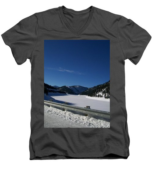 Men's V-Neck T-Shirt featuring the photograph Snow Lake by Jewel Hengen
