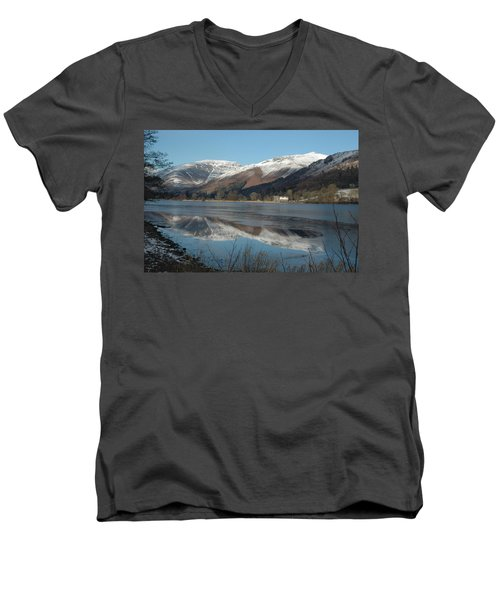 Snow Lake Reflections Men's V-Neck T-Shirt by Kathy Spall