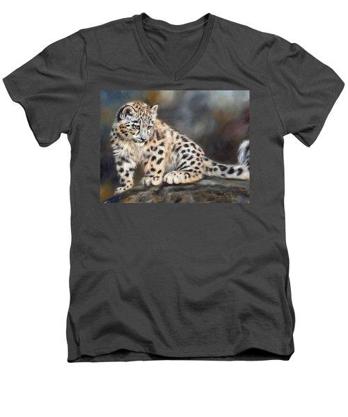Snow Leopard Cub Men's V-Neck T-Shirt by David Stribbling