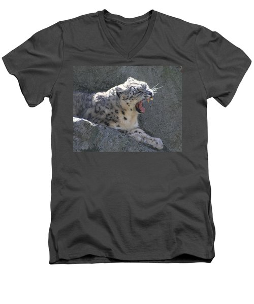Men's V-Neck T-Shirt featuring the photograph Snow Leopard Yawn by Neal Eslinger