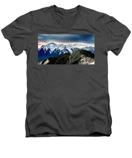 Men's V-Neck T-Shirt featuring the photograph Snow Mountain by Yew Kwang