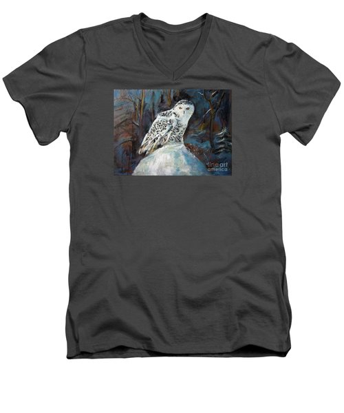 Men's V-Neck T-Shirt featuring the painting Snow Owl by Jieming Wang