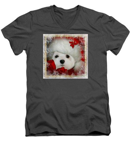 Snowdrop  And  Santa Hat Men's V-Neck T-Shirt by Morag Bates