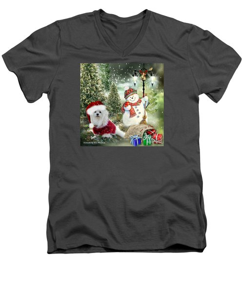 Snowdrop And The Snowman Men's V-Neck T-Shirt by Morag Bates