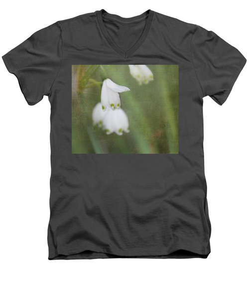 Men's V-Neck T-Shirt featuring the photograph Snowdrops by Katie Wing Vigil