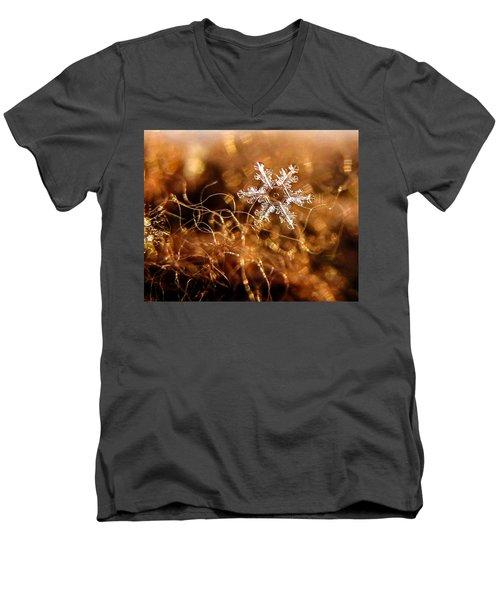 Snowflake On Brown Men's V-Neck T-Shirt