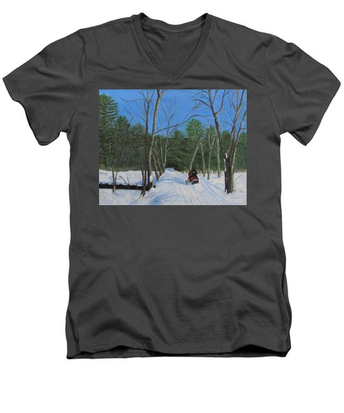 Snowmobile On Trail Men's V-Neck T-Shirt