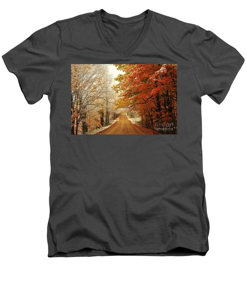 Snowy Autumn Road Men's V-Neck T-Shirt