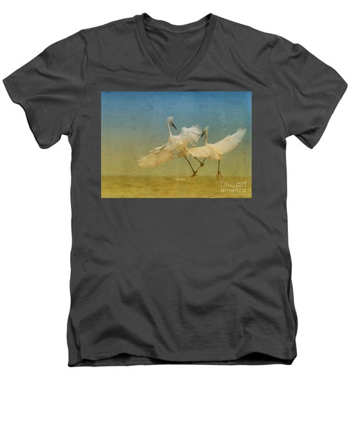 Snowy Egret Dance Men's V-Neck T-Shirt