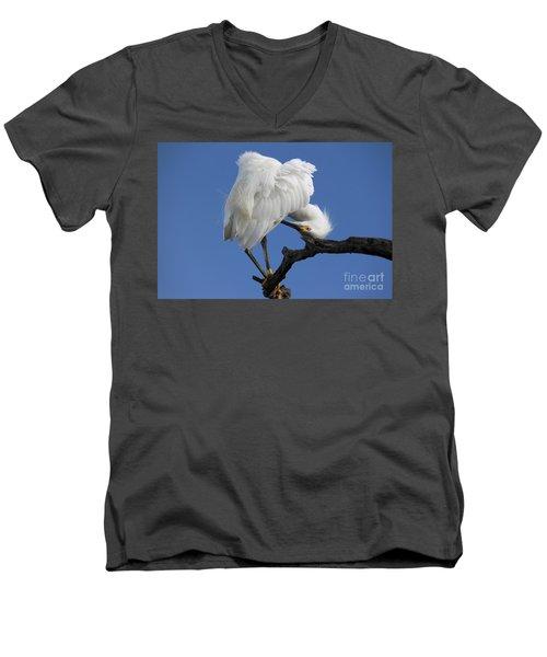 Men's V-Neck T-Shirt featuring the photograph Snowy Egret Photograph by Meg Rousher