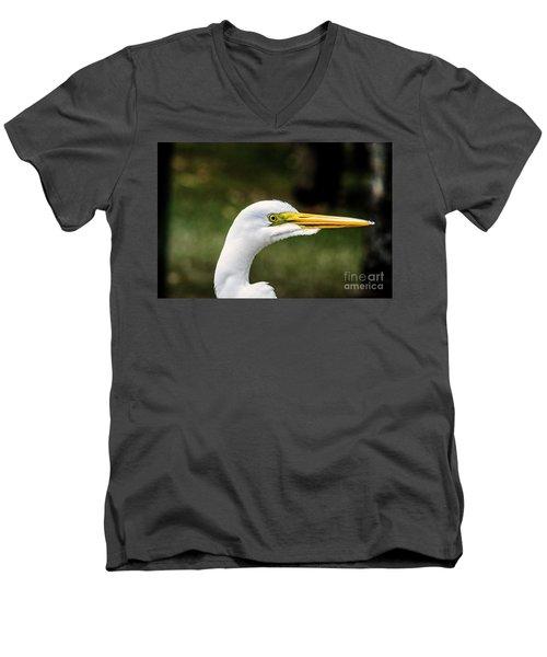 Snowy Egret Profile Men's V-Neck T-Shirt