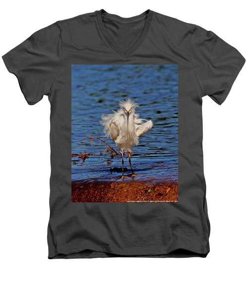 Snowy Egret With Yellow Feet Men's V-Neck T-Shirt