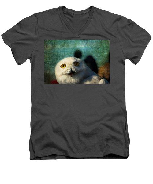 Snowy Owl Men's V-Neck T-Shirt by Denyse Duhaime
