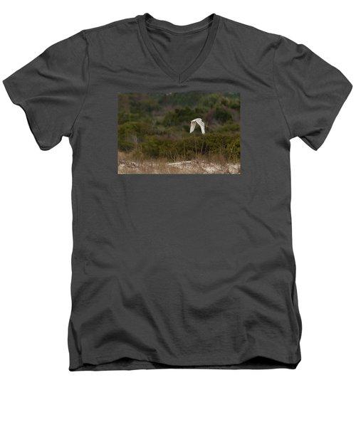 Men's V-Neck T-Shirt featuring the photograph Snowy Owl Dune Flight by Paul Rebmann