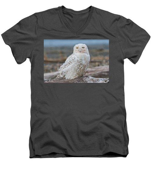 Snowy Owl Watching From A Driftwood Perch Men's V-Neck T-Shirt