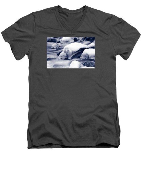 Men's V-Neck T-Shirt featuring the photograph Snowy Rocks by Liz Leyden