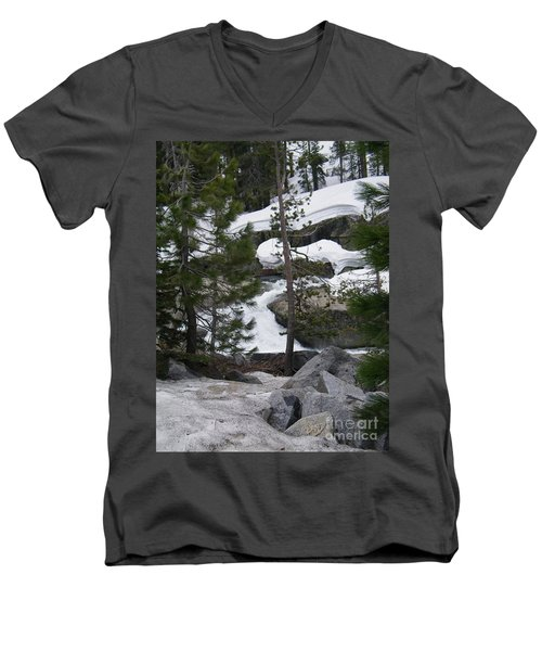 Men's V-Neck T-Shirt featuring the photograph Snowy Sierras by Bobbee Rickard