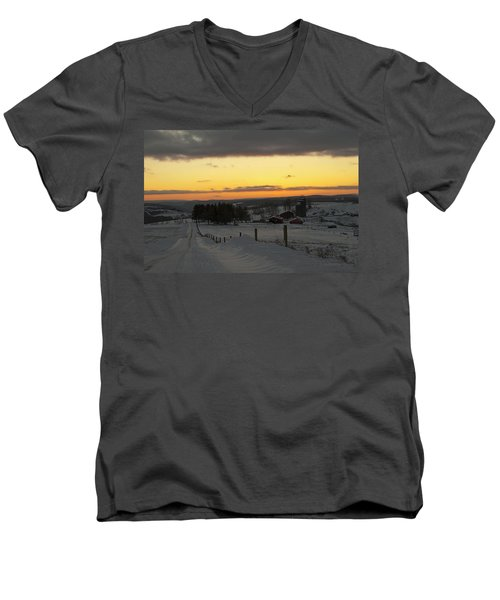 Snowy Pennsylvania Sunset Men's V-Neck T-Shirt