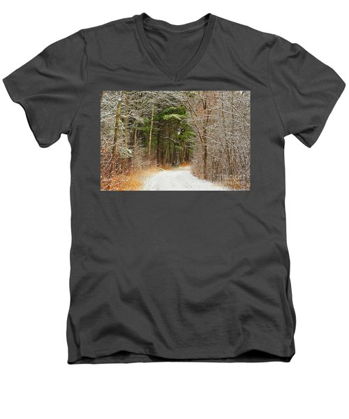 Men's V-Neck T-Shirt featuring the photograph Snowy Tunnel Of Trees by Terri Gostola