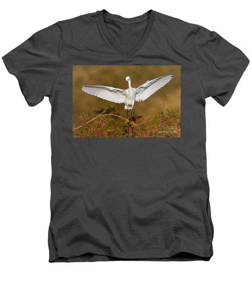 Men's V-Neck T-Shirt featuring the photograph Snowy Wingspread by Bryan Keil