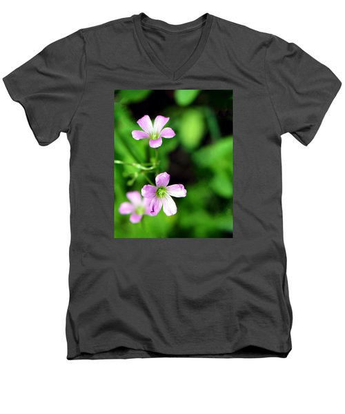 So Delicate In Purple. Texas Spring Perennial Men's V-Neck T-Shirt by Connie Fox