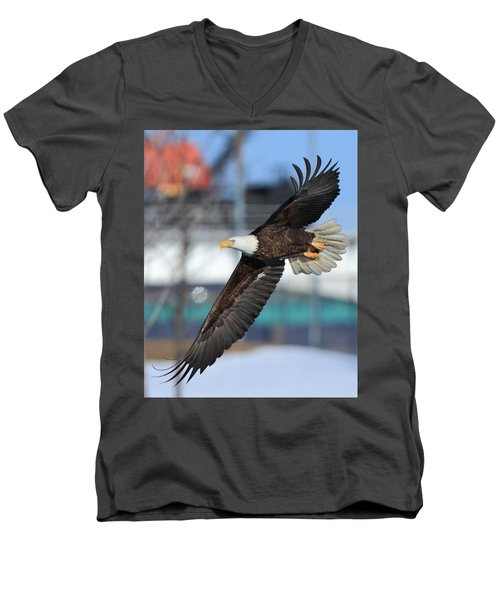 Men's V-Neck T-Shirt featuring the photograph Soaring Eagle by Coby Cooper