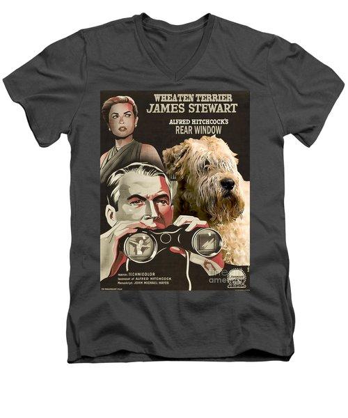 Soft-coated Wheaten Terrier  - Wheaten Terrier Art Canvas Print - Rear Window Movie Poster Men's V-Neck T-Shirt