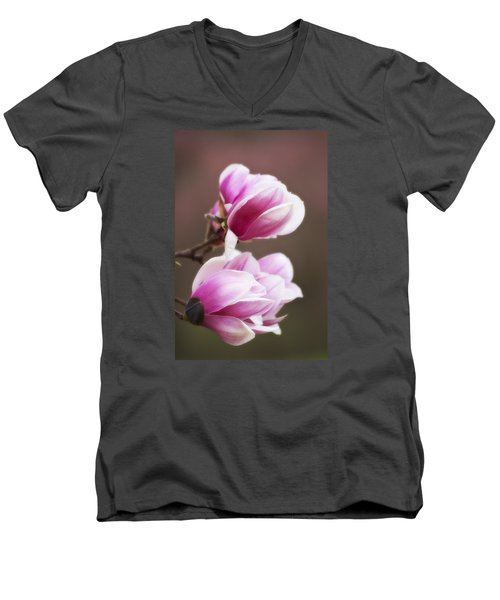 Soft Magnolia Blossoms Men's V-Neck T-Shirt by Shelly Gunderson
