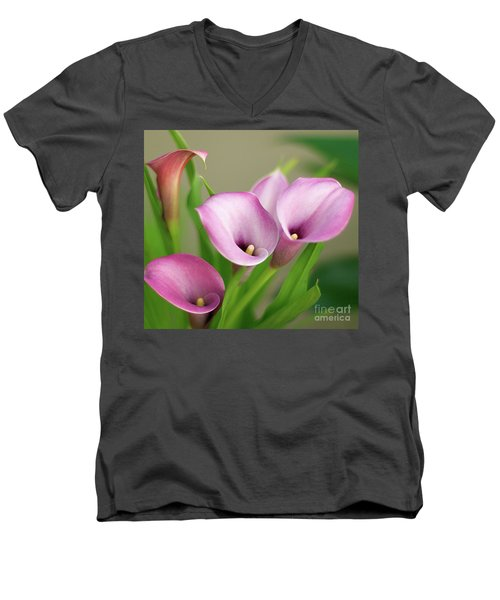 Men's V-Neck T-Shirt featuring the photograph Soft Pink Calla Lilies by Byron Varvarigos