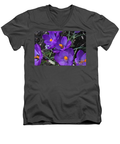 Men's V-Neck T-Shirt featuring the photograph Soft Purple Crocus by Judy Palkimas