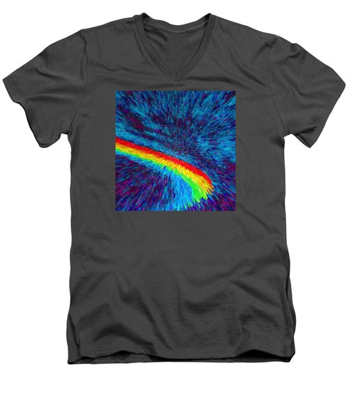 Men's V-Neck T-Shirt featuring the painting Solar Winds II C2014 by Paul Ashby
