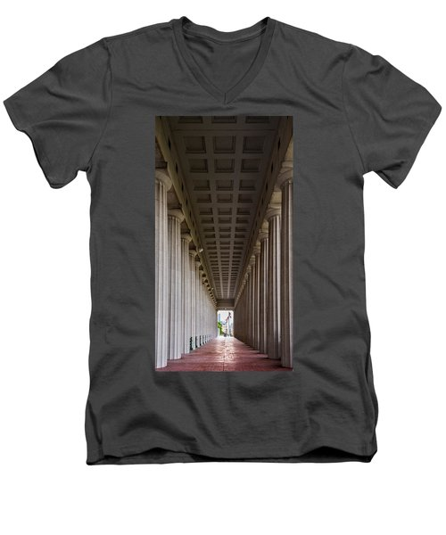 Soldier Field Colonnade Men's V-Neck T-Shirt by Steve Gadomski