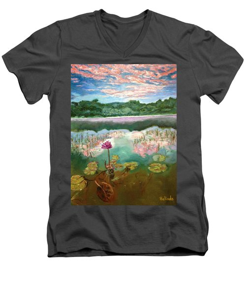 Men's V-Neck T-Shirt featuring the painting Solitary Bloom by Belinda Low