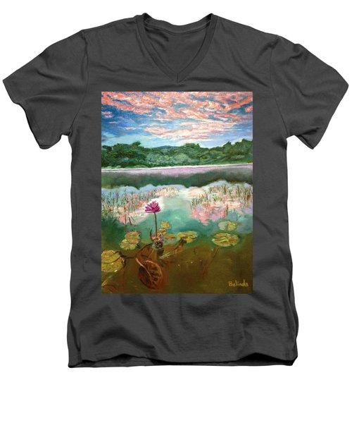 Solitary Bloom Men's V-Neck T-Shirt by Belinda Low