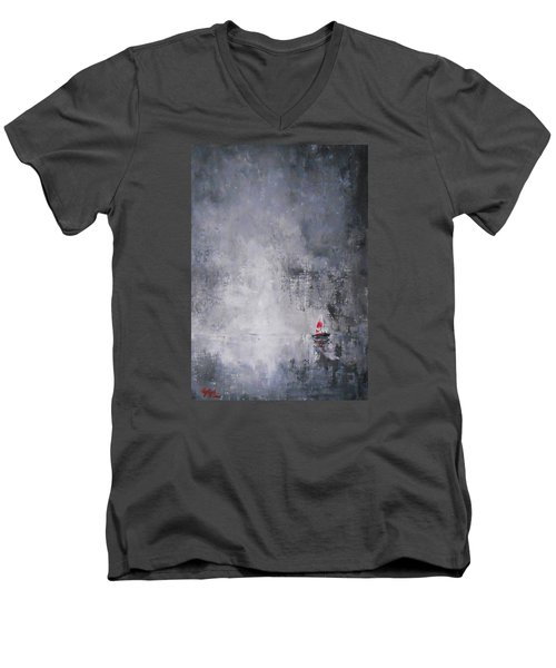 Men's V-Neck T-Shirt featuring the painting Solitude 2 by Jane  See