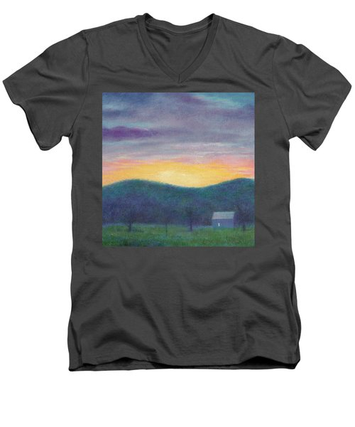Men's V-Neck T-Shirt featuring the painting Blue Yellow Nocturne Solitary Landscape by Judith Cheng