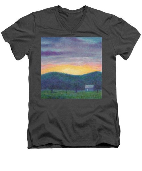 Blue Yellow Nocturne Solitary Landscape Men's V-Neck T-Shirt