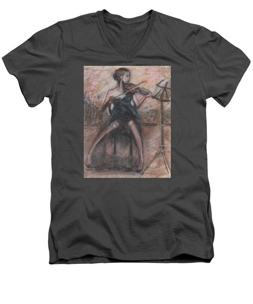 Men's V-Neck T-Shirt featuring the painting Solo Concerto by Jarmo Korhonen aka Jarko