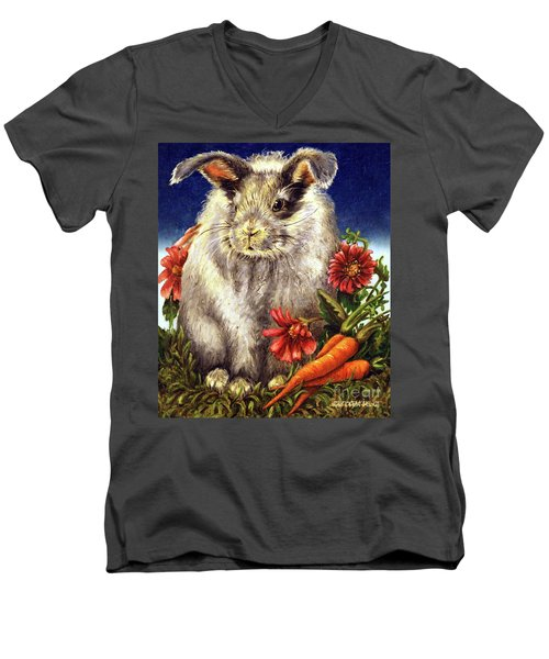 Some Bunny Is A Fuzzy Wuzzy Men's V-Neck T-Shirt by Linda Simon